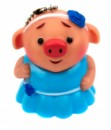 Брелок Свинка в платье голубом