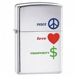 Бензиновая зажигалка Zippo Peace Love Prosperity Мир, любовь, процветание 24714