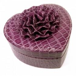Шкатулка для бижутерии Сердечко фиолетовая 17,5х18,5х11 см