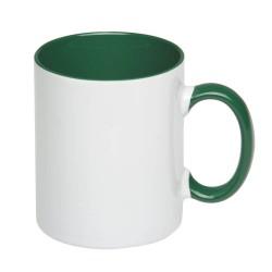 Чашка керамическая бело-зеленая