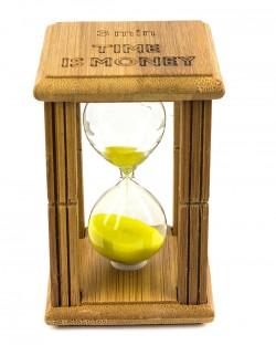 """Часы песочные в бамбуке """"Time is Money"""" с желтым песком"""