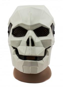 Маска пластик Киборг-череп белая