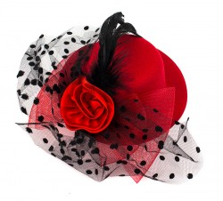 Шляпа гламур маленька с бантом красная