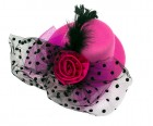 Шляпа гламур маленькая с розой розовая