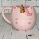 Чашка Единорог круглая розовая