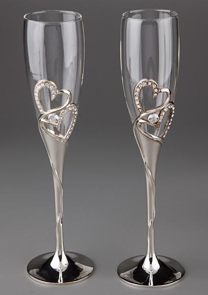 Свадебные бокалы Два сердца