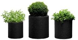 Набор горшков для цветов Cylinder Planter Set серый