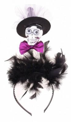 Карнавальный ободок Череп в шляпке с бабочкой и перьями