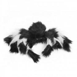 Паук из меха 30см черный с белым