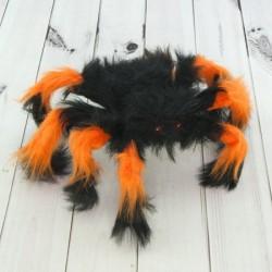 Паук из меха 30см черный с оранжевым