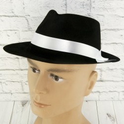 Шляпа  Мафия флок черая c белой лентой