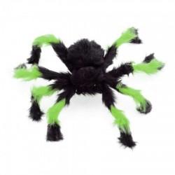 Паук из меха 50см черный с зеленым