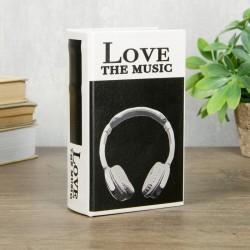 Сейф-книга дерево кожзам Я люблю музыку 17х11х5 см