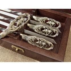 """Комплект шампуров """"Кабан """" в кейсе из натурального дерева"""