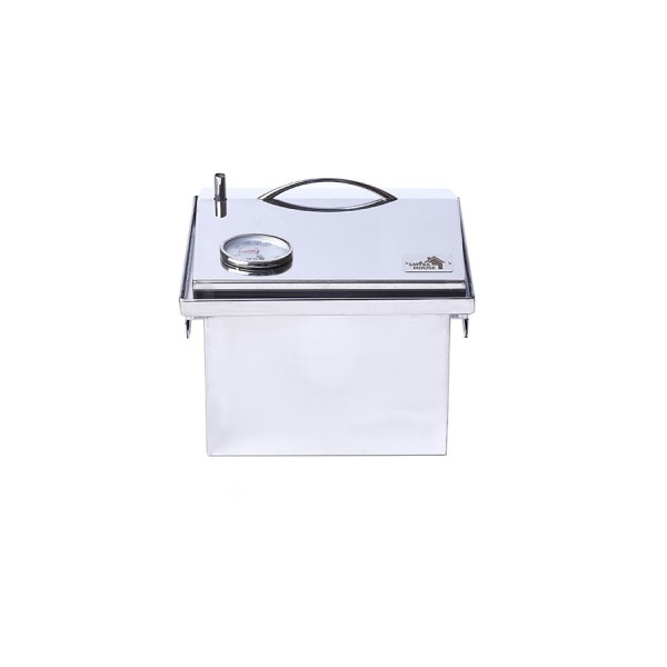 "Коптильня с термометром крышка ""Домик"" из нержавеющей стали (300х300х250)"