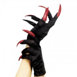Перчатки с когтями короткие черные с красным