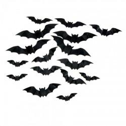 Декор настенный Летучие мыши черные 16 шт