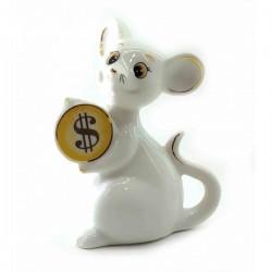Мышка с монеткой фарфоровая