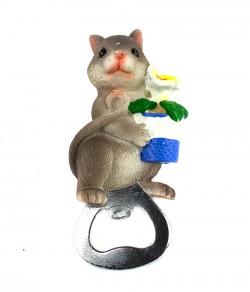Магнит открывашка Мышка с цветочком