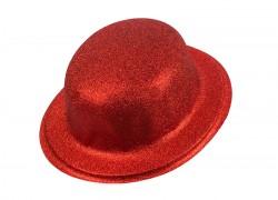 Шляпа Котелок блестящий красный