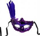 Маска пайетки с пером и цветком фиолетовая