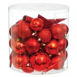Набор новогодних украшений в ассортименте красный 40 шт