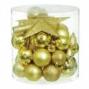 Набор новогодних украшений в ассортименте золотой 40 шт