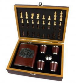 Набор шахматы и фляга коричневая