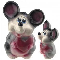 Копилка мышка с сердцем глянцевая