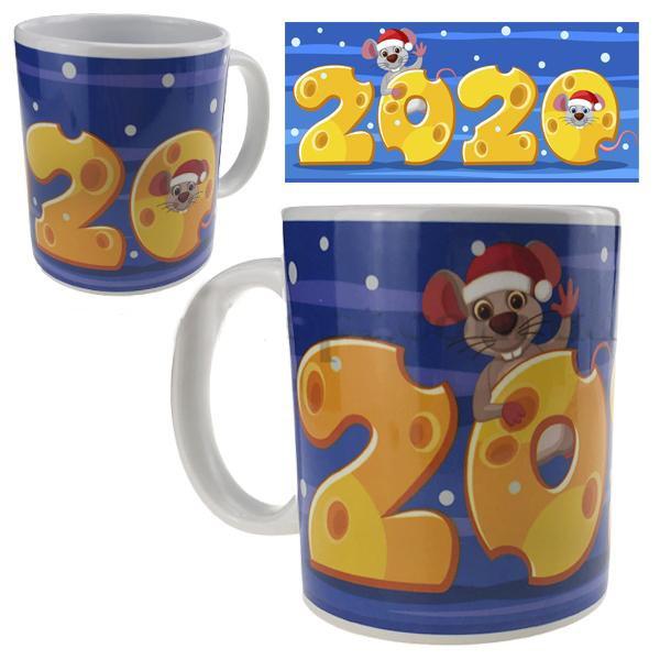 Кружка Новый год Мышка на сырном 2020