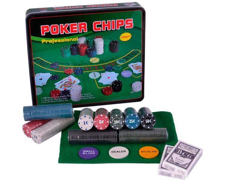 Покерный набор в металлической коробке на 500 фишек