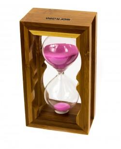 Часы песочные в бамбуке розовый песок