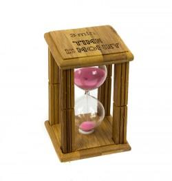 Часы песочные в бамбуке Time is Money с розовым песком