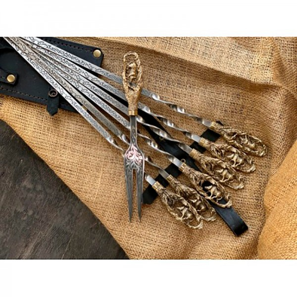 Набор шампуров Кабан с вилкой в колчане