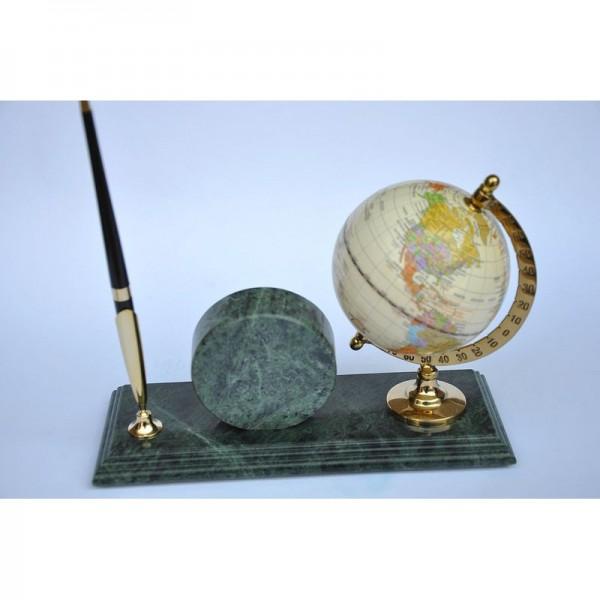 Мраморная подставка с глобусом и часами