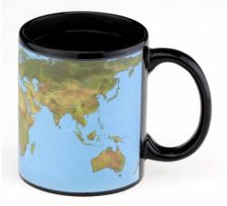Чашка с терморисунком Карта Мира голубая