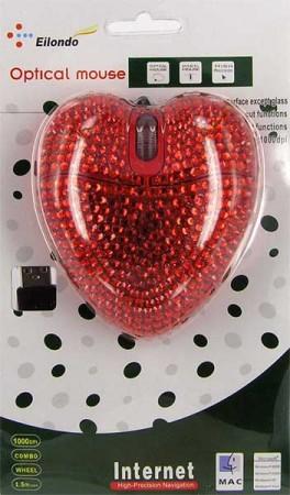 """Компьютерная мышка """"сердечко со стразами"""""""