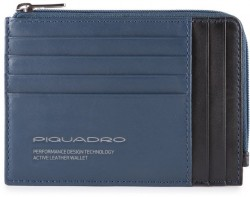 DOWNTOWN/Blue Кредитница с отдел. для монет на молнии с RFID защитой (12,5x9x1)
