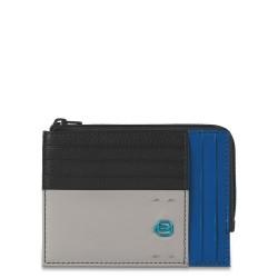 PULSE/Black-Blue Кредитница с отдел. для монет на молнии (12x9x1)