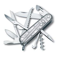 HUNTSMAN 91мм/15функ/сереб.прозр /штоп/ножн/пила/крюк (блистер)