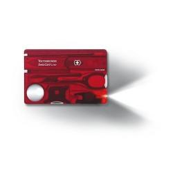 SWISSCARD LITE 82х54х4мм/12функ/крас.прозр /ножн/LED/отверт/ручка (блистер)