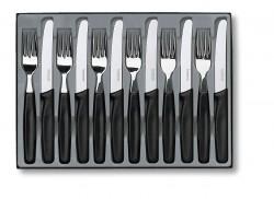 Набор кухонный Table Set 12шт с черн. ручкой (6 ножей 11см закругл.нос волн., 6 вилок)