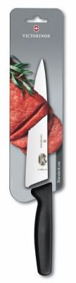 Кухонный нож Carving 19см широк. с черн. ручкой (блистер)