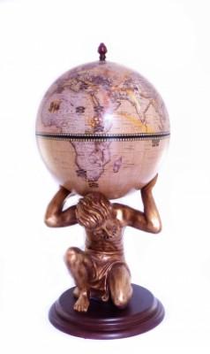 Глобус бар напольный Atlas золотой Зодиак 42016N-GE