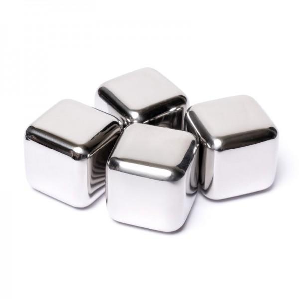 Камни кубики для виски металлические 4 шт в подарочной коробке