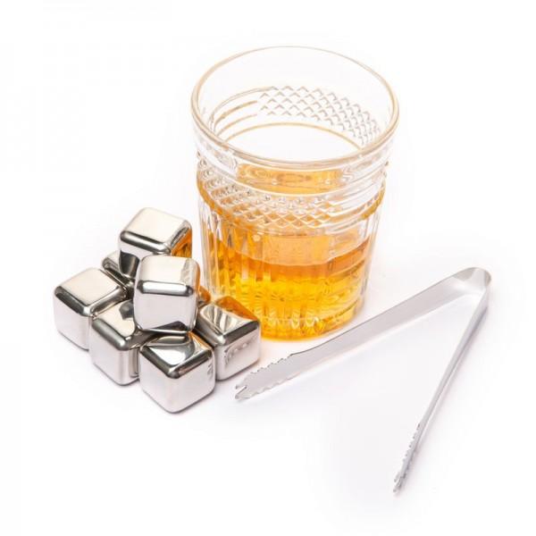 Набор  кубики для виски металлические 8 шт с пинцетом в подарочной коробке