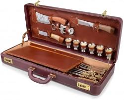 Набор для шашлыков Тайга в кожаном кейсе