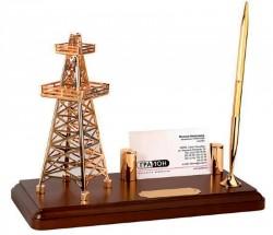 """Настольный прибор """"Черное золото"""" с подставкой под визитки и ручкой на деревянной подставке"""