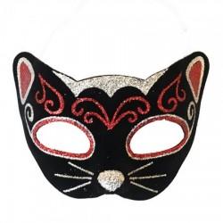 Венецианская маска Кошка фетр (черная с красным)