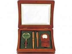 Набор: лупа, часы, ручка шариковая и ручка роллер